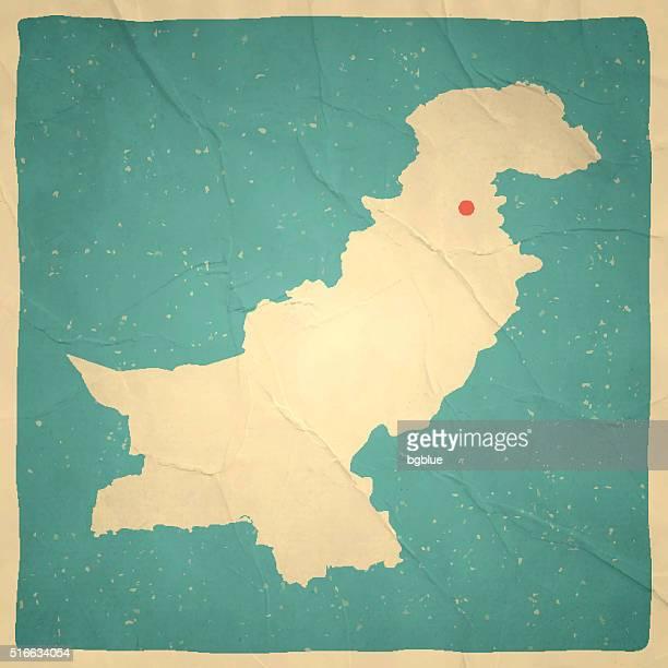 パキスタンマップ、古いヴィンテージ紙の質感 - イスラマバード点のイラスト素材/クリップアート素材/マンガ素材/アイコン素材