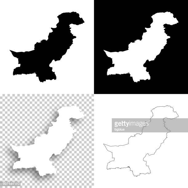 pakistan maps for design - blank, white and black backgrounds - pakistan stock illustrations