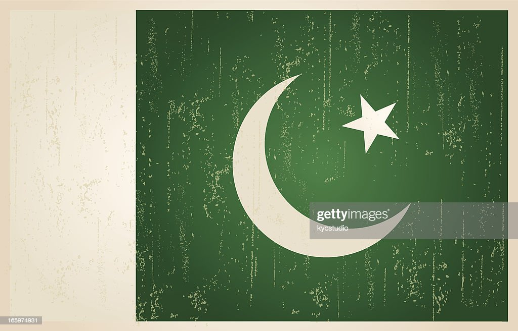 Pakistani flag in grunge and vintage style.