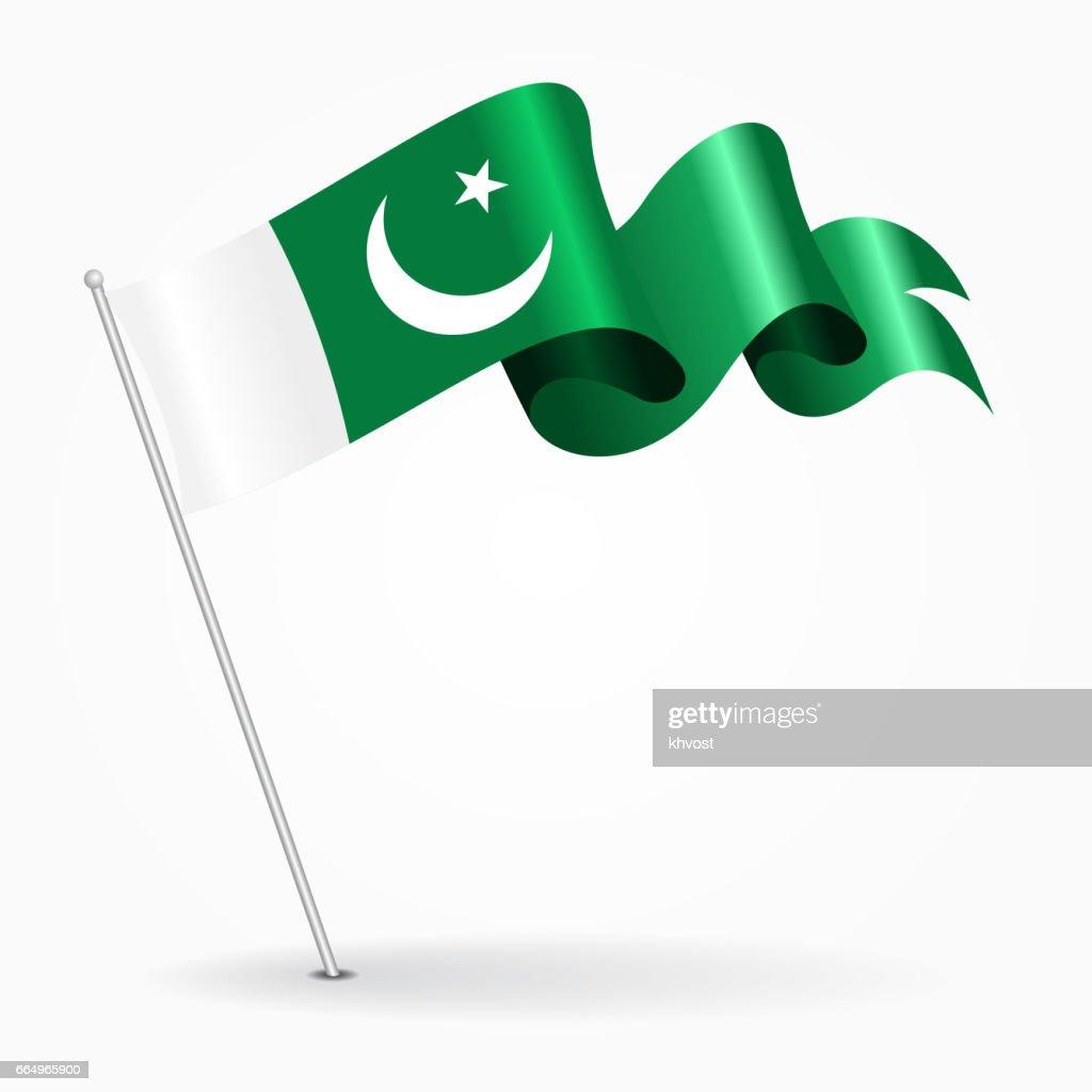 Pakistani pin wavy flag. Vector illustration.