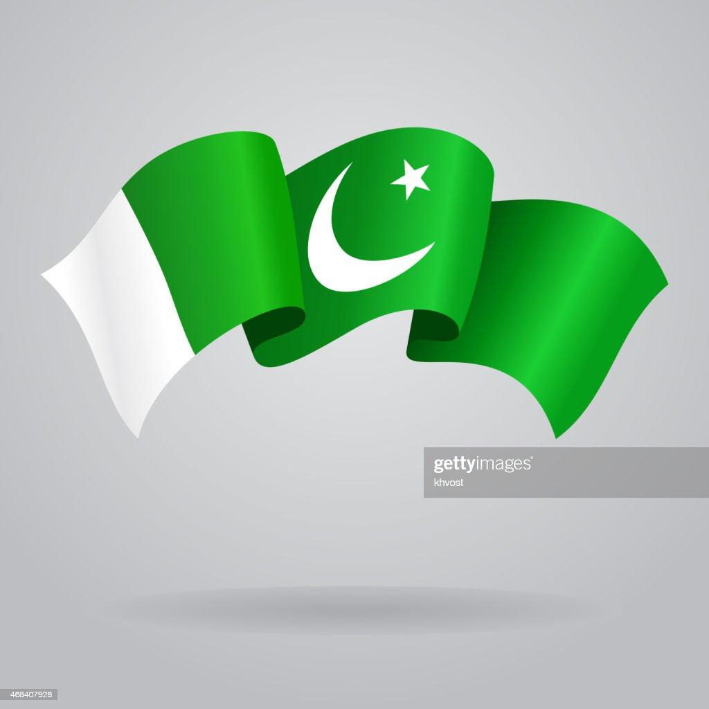 Pakistani waving Flag. Vector illustration