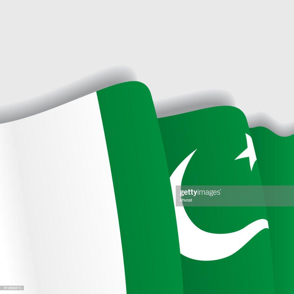Pakistani waving Flag. Vector illustration.