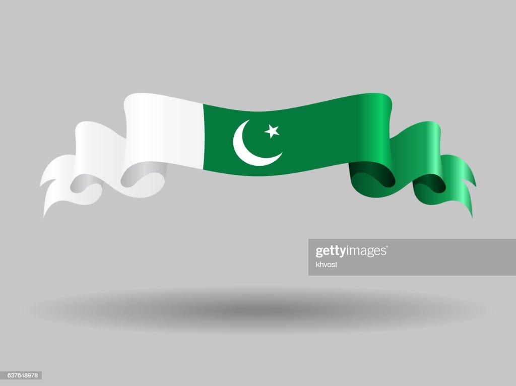 Pakistani wavy flag. Vector illustration.