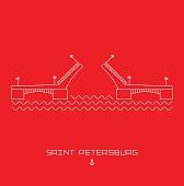 Palace Bridge - symbol of Saint Petersburg, Russia. Simple line