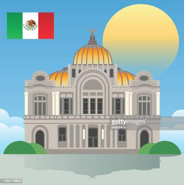 ilustrações, clipart, desenhos animados e ícones de palacio de bellas artes em cidade do méxico - pintura de belas artes