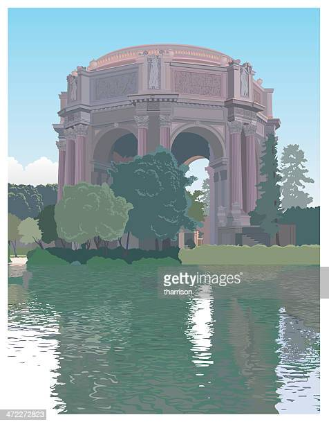 palace of fine arts - architectural dome stock illustrations, clip art, cartoons, & icons
