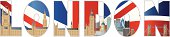 Palace of Westminster and London Skyline Text Outline Illustration