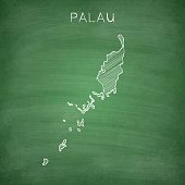 Palau map drawn on chalkboard - Blackboard