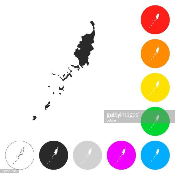 Palau map - Flat icons on different color buttons