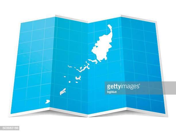 Palau Map folded, isolated on white Background