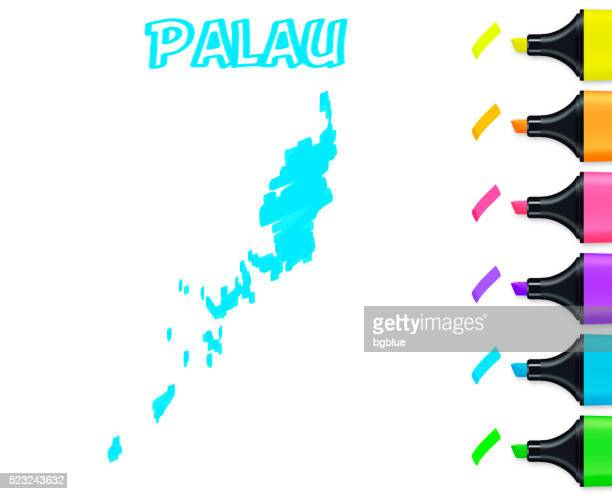 Palau map hand drawn on white background, blue highlighter