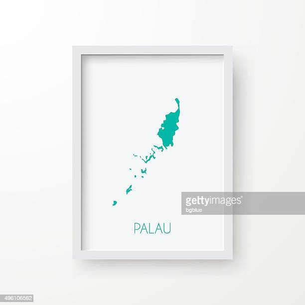Palau Map in Frame on White Background