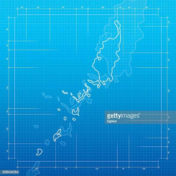 Palau map on blueprint background