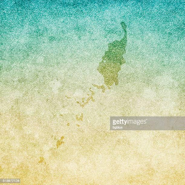 Palau Map on grunge Canvas Background