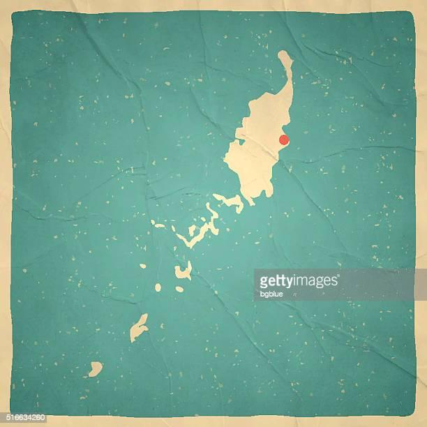 Palau Map on old paper - vintage texture