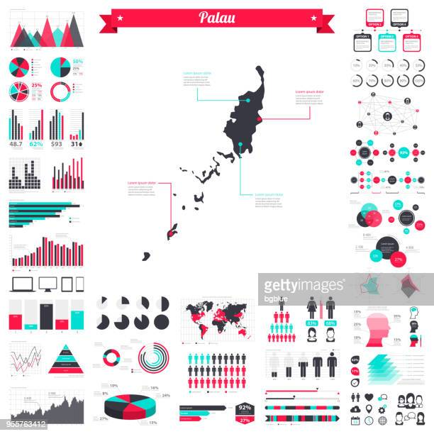 Palau map with infographic elements - Big creative graphic set