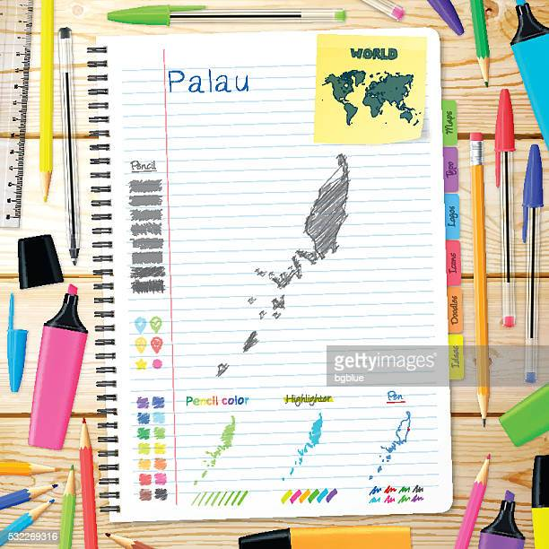 Palau maps hand drawn on notebook. Wooden Background