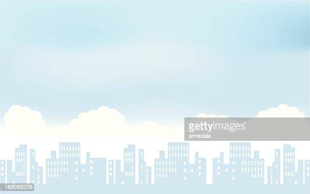 pale blue and white city scape illustration - overcast stock illustrations, clip art, cartoons, & icons