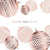 pale color new year baubles vector illustration. golden elegant style abstract design for celebration invitation, greeting card, header, banner