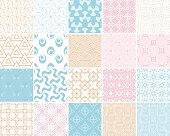 Pale colored set of geometric seamless patterns