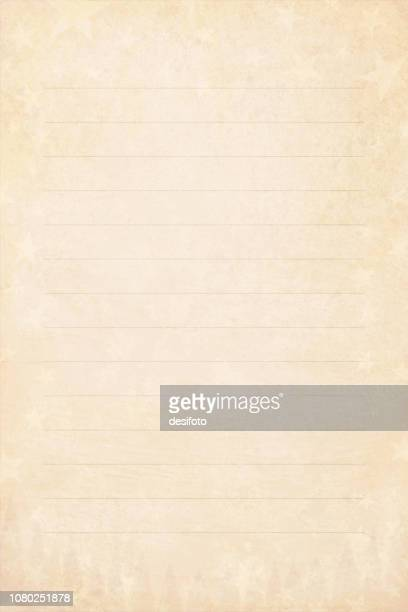 pale grunge beige yellowed light brown faded vector illustration of a starry party background with lines for writing in vintage color- vertical illustration. a leaf from letter pad - list stock illustrations