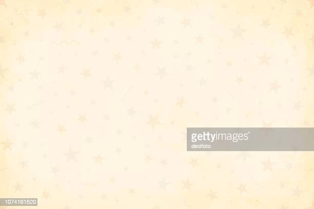 stockillustraties, clipart, cartoons en iconen met bleke grunge beige vergeelde vectorillustratie van de achtergrond van een sterrenhemel partij in vintage kleuren, beige, bleke blauwe en saai rode feest en viering elementen zoals wervelingen, sterren, confetti - happy birthday vintage