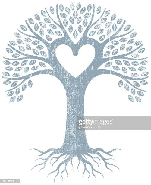 pale grunge graphic heart tree - family tree stock illustrations, clip art, cartoons, & icons