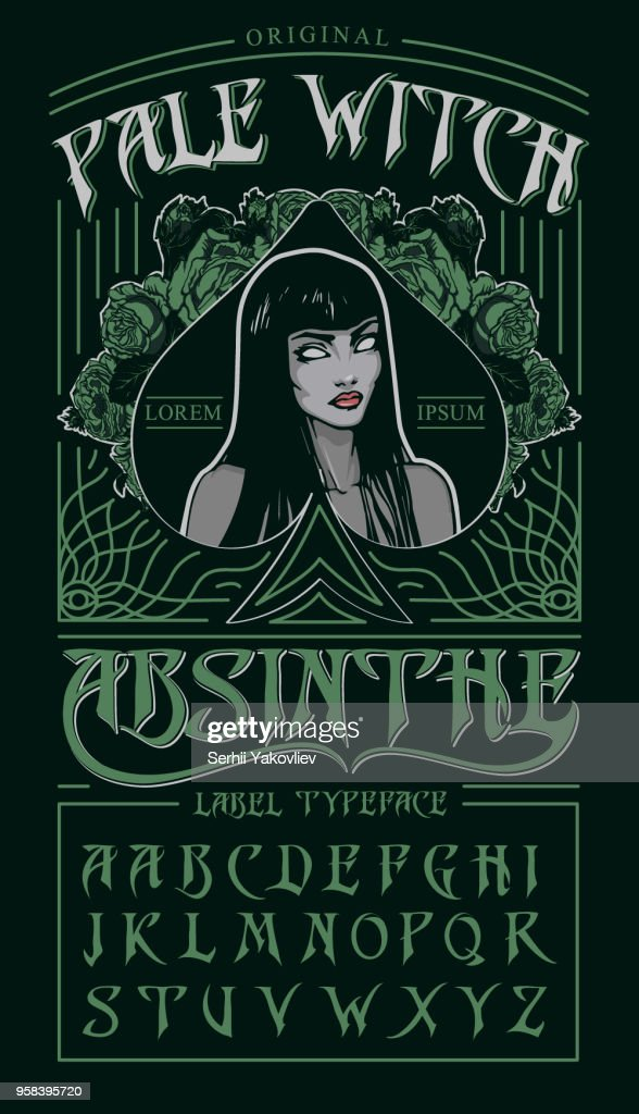 'Pale witch' - absinthe label typeface.