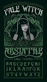 """""""Pale witch"""" - absinthe label typeface."""