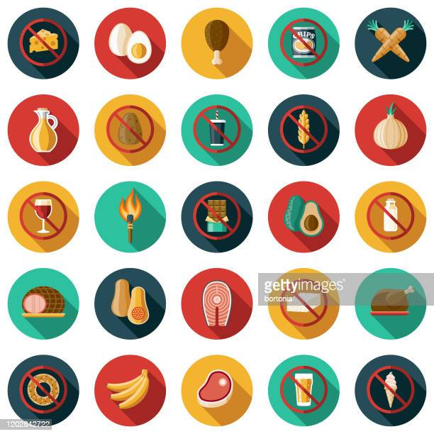 paleo diet icon set - paleolitico stock illustrations