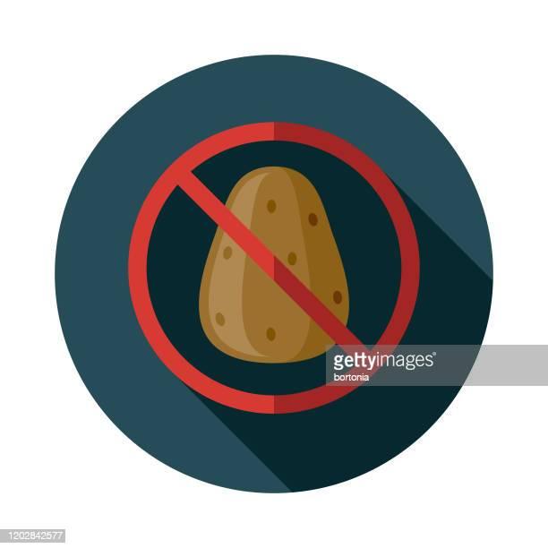 paleo diet no potato icon - paleolitico stock illustrations