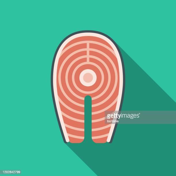 paleo diet seafood icon - paleolitico stock illustrations