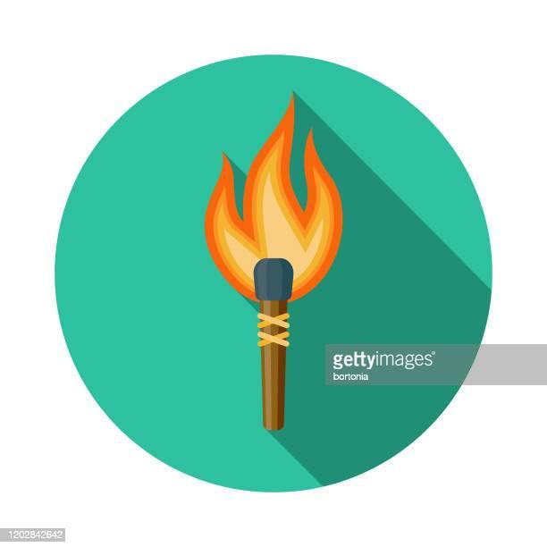 paleo diet torch icon - paleolitico stock illustrations