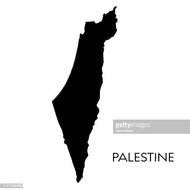 illustrazioni stock, clip art, cartoni animati e icone di tendenza di palestine map - territori palestinesi