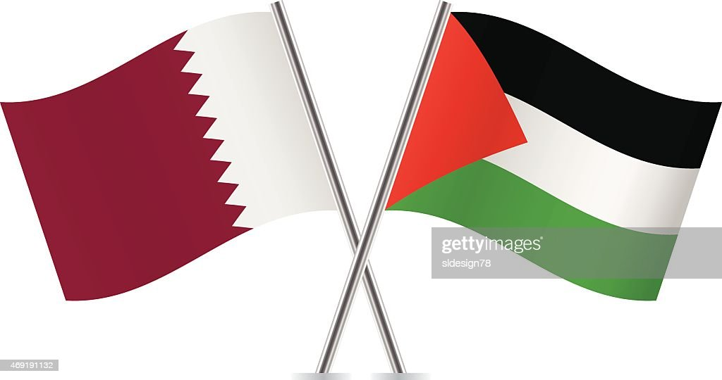 Palestinian and Qatar flags. Vector.