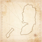 Palestinian Territories map in retro vintage style - old textured paper