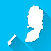 Palestinian Territories Map on Blue Background, Long Shadow, Flat Design