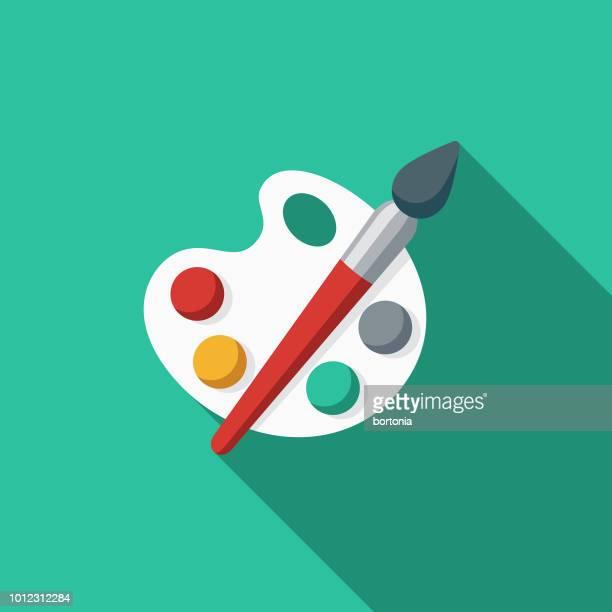 palette spain flat design icon - artist's palette stock illustrations