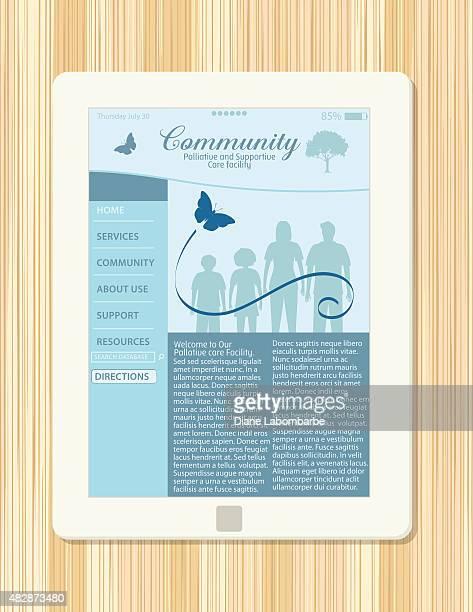 ilustraciones, imágenes clip art, dibujos animados e iconos de stock de cuidado paliativo apoyo abierto en un sitio web de tablet - eutanasia