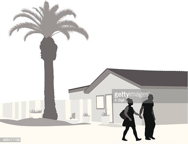 palm house vector silhouette - bungalow stock illustrations, clip art, cartoons, & icons