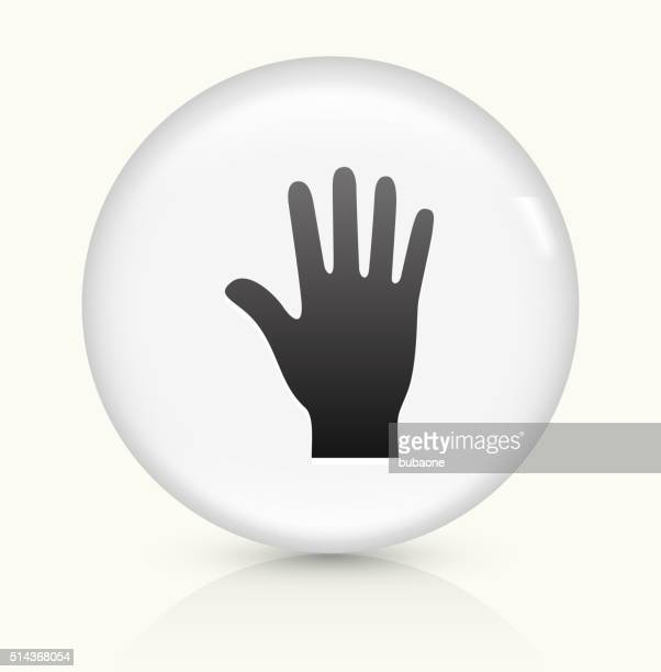 palm icon on white round vector button - wrist stock illustrations, clip art, cartoons, & icons