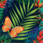 palm leaf and butterfly