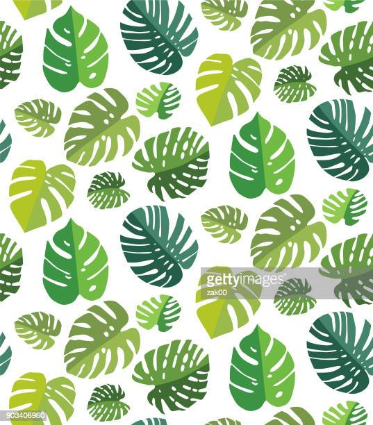 palm leaf seamless background - loopable elements stock illustrations