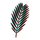 Palm leaf with glitch effect. Color channel distorted vector illustration of tropical exotic palm leaf.