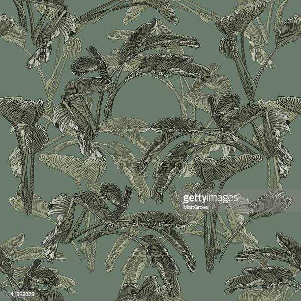 palm leaves seamless repeat pattern - palm leaf stock illustrations
