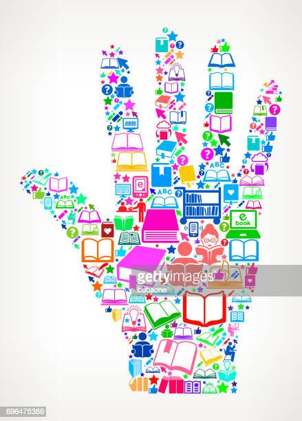 Palm  Reading Books and Education Vector Icon Background