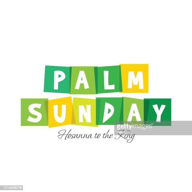ilustrações, clipart, desenhos animados e ícones de palm sunday christian holiday tema ilustração de estoque de ações - domingo de ramos
