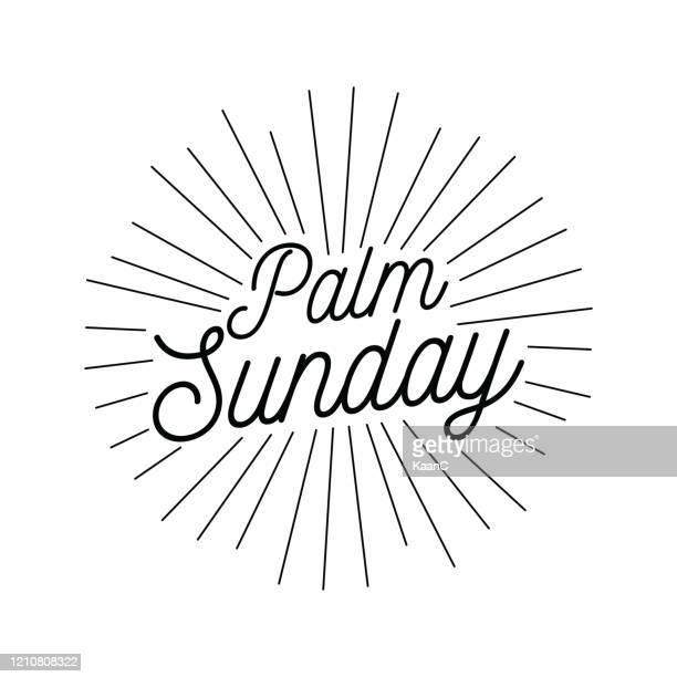 palm sunday christian holiday theme illustration stock illustration - palm sunday stock illustrations
