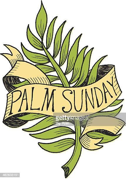 ilustrações, clipart, desenhos animados e ícones de palm domingo gráfico - domingo de ramos