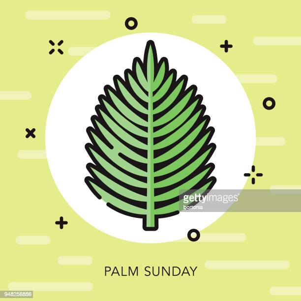 palm sunday open outline easter icon - palm sunday stock illustrations